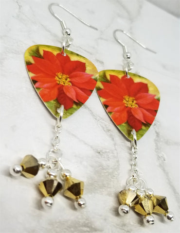 Poinsettia Guitar Pick Earrings with Gold Swarovski Crystal Dangles
