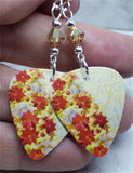 Poinsettia Covered Christmas Tree Guitar Pick Earrings with Metallic Sunshine Swarovski Crystals