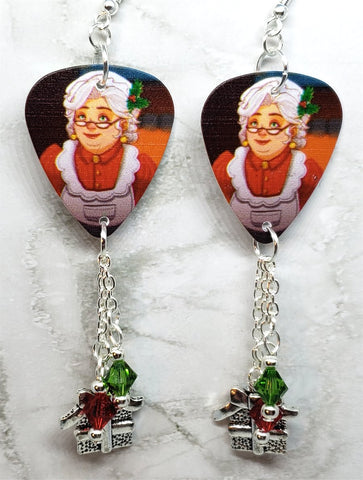 Mrs. Claus Guitar Pick Earrings with Charm and Swarovski Crystal Dangles