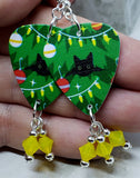 Christmas Bulbs and Black Cats Guitar Pick Earrings with Yellow Opal Swarovski Crystal Dangles