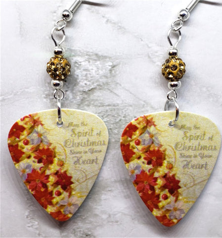 Poinsettia Covered Christmas Tree Guitar Pick Earrings with Muted Gold Pave Beads