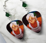 Mrs. Claus Guitar Pick Earrings with Emerald Green Swarovski Crystals
