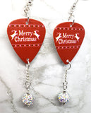Merry Christmas Reindeer Guitar Pick Earrings with White AB Pave Bead Dangles