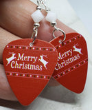 Merry Christmas Reindeer Guitar Pick Earrings with White Swarovski Crystals