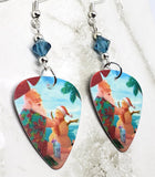 Santa Claus on the Beach Guitar Pick Earrings with Blue Swarovski Crystals