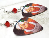 Mrs. Claus Guitar Pick Earrings with Red Swarovski Crystals