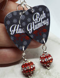 Bah Humbug Guitar Pick Earrings with Red and White Striped Pave Bead Dangles