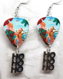 Santa Claus on the Beach Guitar Pick Earrings with HoHoHo Charms