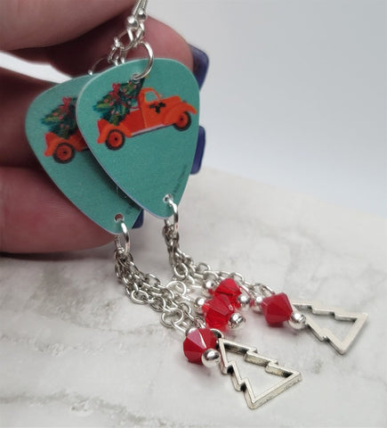 Classic Red Truck with Christmas Tree in Back Guitar Pick Earrings with Christmas Tree Charm and Swarovski Crystal Dangles