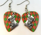 Christmas Stocking Charm Guitar Pick Earrings - Pick Your Color