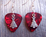 Christmas Tree Charm Guitar Pick Earrings - Pick Your Color