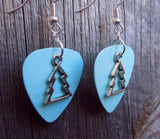Christmas Tree Outline Charm Guitar Pick Earrings - Pick Your Color