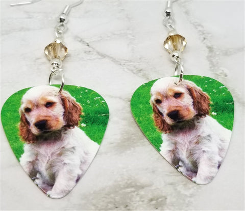 Cocker Spaniel Puppy Guitar Pick Earrings with Champagne Colored Swarovski Crystals