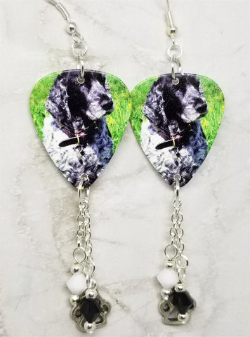 Cocker Spaniel Guitar Pick Earrings with Paw Print Charm and Swarovski Crystal Dangles