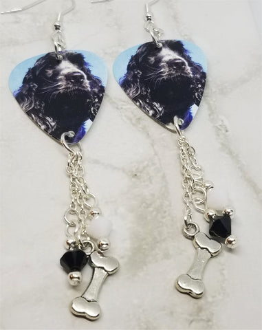 Cocker Spaniel Guitar Pick Earrings with Bone Charm and Swarovski Crystal Dangles