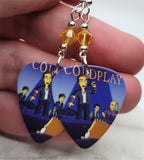 Coldplay on The Simpsons Guitar Pick Earrings with Yellow Swarovski Crystals