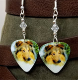 Collie Dog Guitar Pick Earrings with Clear Swarovski Crystals