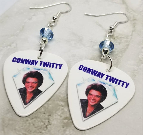 Conway Twitty Guitar Pick Earrings with Blue Swarovski Crystals