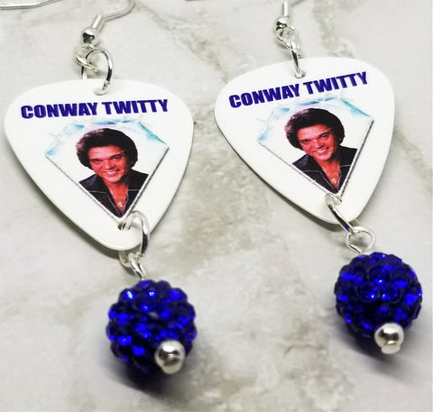 Conway Twitty Guitar Pick Earrings with Blue Pave Bead Dangles