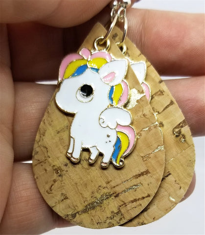 Cork with Gold Flecks Tear Drop Shaped Cork Earrings with Large Unicorn Charms
