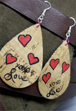 Hand Painted Love Tear Drop Shaped Cork Earrings