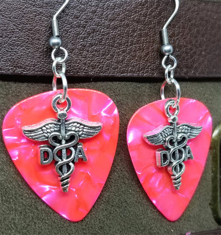 Dental Assistant Caduceus Charm Guitar Pick Earrings - Pick Your Color