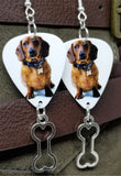 Dachshund Guitar Pick Earrings with Bone Charm Dangle