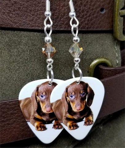 Dachshund Puppy Guitar Pick Earrings with Copper Swarovski Crystals