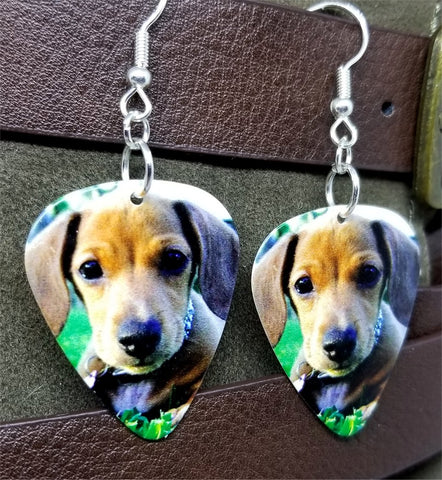 Dachshund Puppy Guitar Pick Earrings