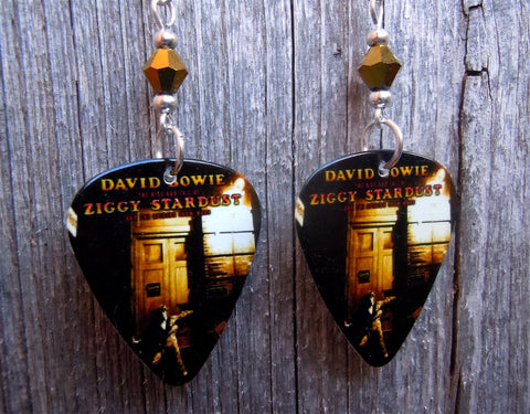 David Bowie Ziggy Stardust Guitar Pick Earrings with Gold Swarovski Crystals