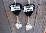 David Bowie The Man Who Sold The World Guitar Pick Earrings with White Pave Bead Dangles