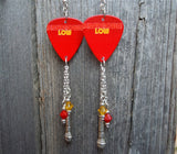 David Bowie Low Guitar Pick Earrings with Swarovski Crystal and Metal Charm Dangles