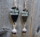 David Bowie Hunky Dory Guitar Pick Earrings with Ombre Pave Beads