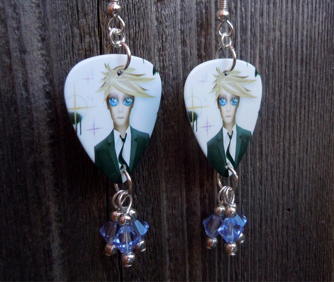 David Bowie Reality Guitar Pick Earrings with Blue Swarovski Crystal Dangles