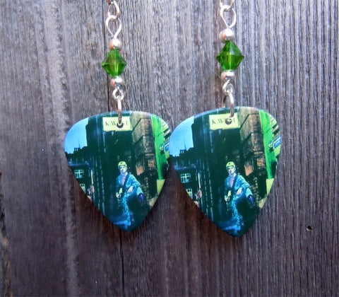 David Bowie Ziggy Stardust Guitar Pick Earrings with Green Swarovski Crystals