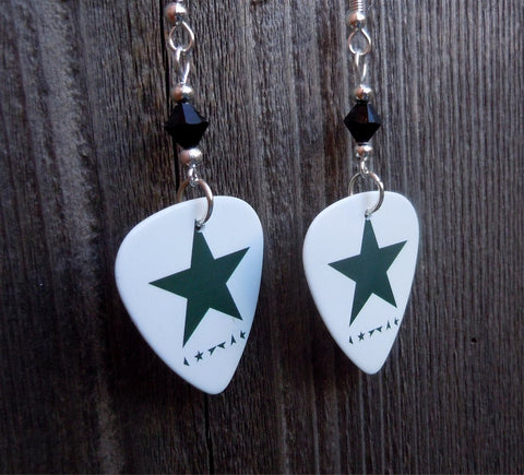 David Bowie Blackstar Guitar Pick Earrings with Black Swarovski Crystals