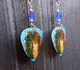 David Bowie Space Oddity Guitar Pick Earrings with Blue Swarovski Crystals
