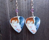 David Bowie Scary Monsters Guitar Pick Earrings with Violet Swarovski Crystals