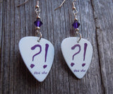 Deep Purple Now What Guitar Pick Earrings with Purple Swarovski Crystals
