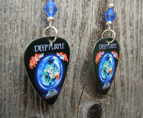 Deep Purple Slaves and Masters Guitar Pick Earrings with Blue Swarovski Crystals