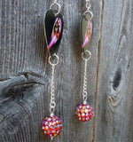 Deep Purple Fireball Guitar Pick Earrings with Fuchsia AB Rhinestone Beads