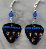 Deep Purple Guitar Pick Earrings with Blue Swarovski Crystals