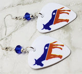 Democrat Symbol Donkey Guitar Pick Earrings with Blue Swarovski Crystal Bicones