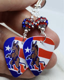 Angry Democrat Symbol Donkey Guitar Pick Earrings with American Flag Pave Beads