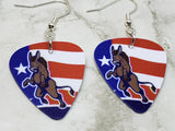 Angry Democrat Symbol Donkey Guitar Pick Earrings