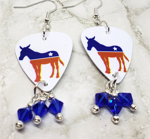 Democratic Symbol Donkey Guitar Pick Earrings with Blue Swarovski Crystal Dangles