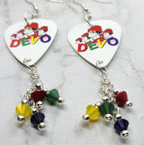 Devo Guitar Pick Earrings with Swarovski Crystal Dangles