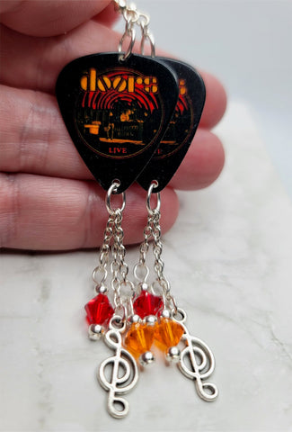 The Doors Live Guitar Pick Earrings with Clef Charm and Swarovski Crystal Dangles