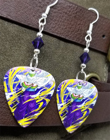 Dragon Ball Z Piccolo Guitar Pick Earrings with Purple Swarovski Crystals
