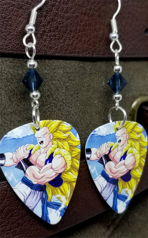 Dragon Ball Z Gogeta Guitar Pick Earrings with Blue Swarovski Crystals